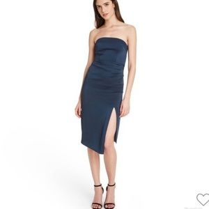 Cushnie x target strapless blue side slit dress